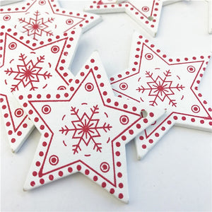 10pcs New Year Natural Wood Christmas Tree Ornament