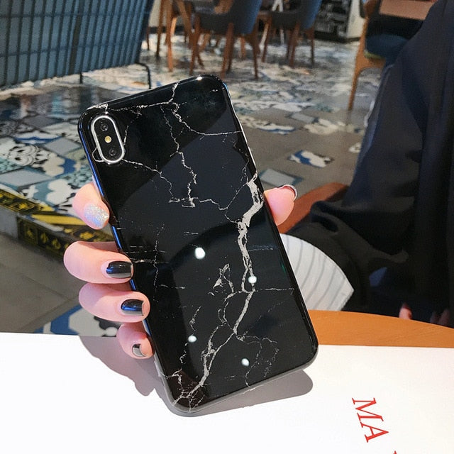 Marble Case on For Coque iphone 11