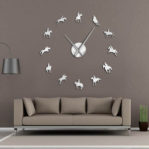 Horse Riding Mirror Effect Wall Clock