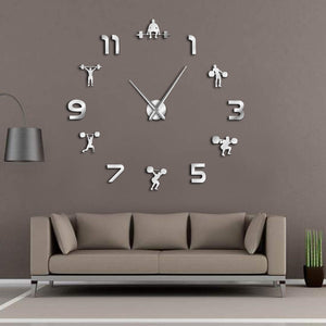 Mirror Effect Powerlifting Frameless Large Wall Clock