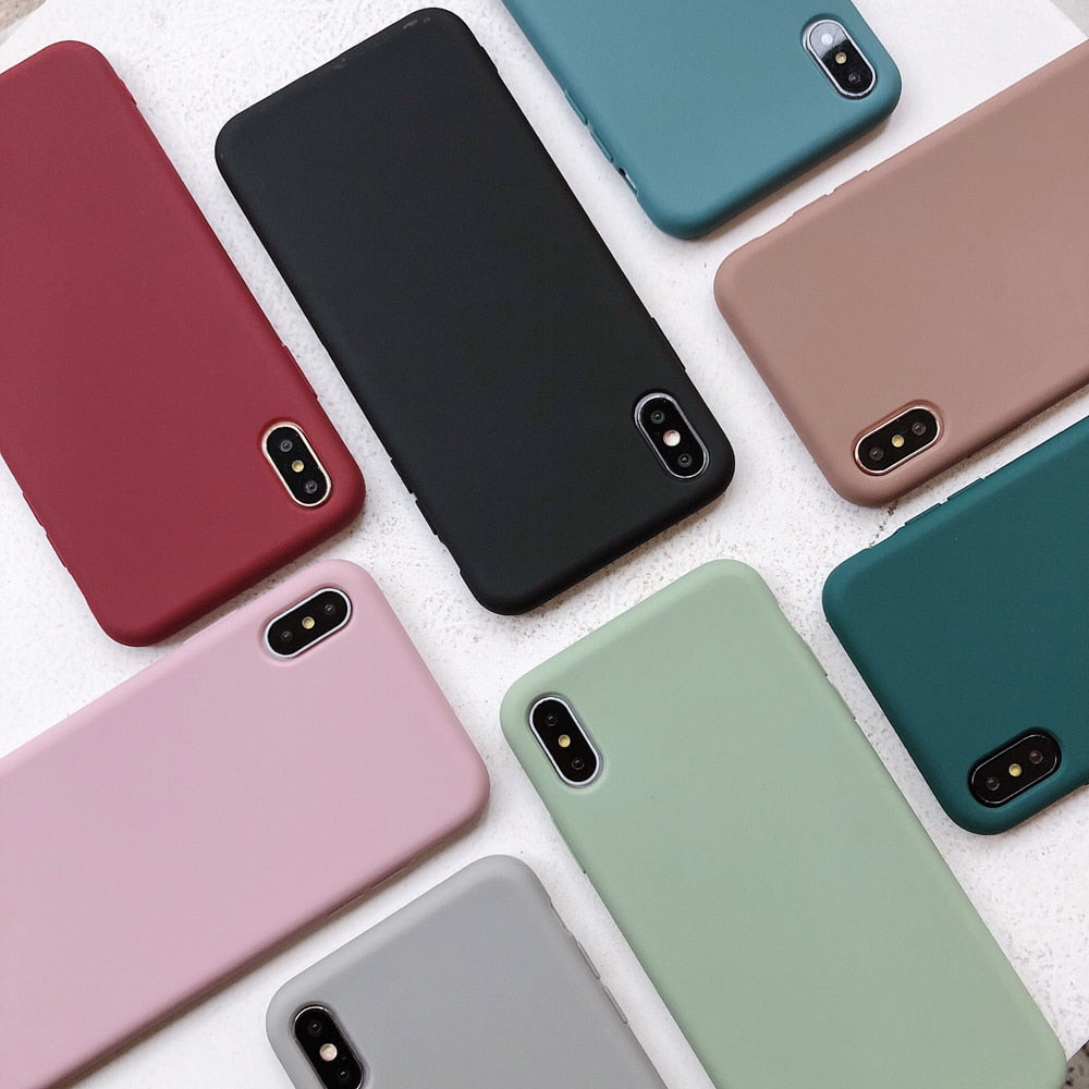 Solid Color Silicone Couples Cases For iphone X 11