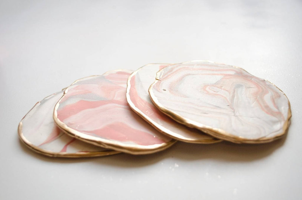 DIY Polymer Clay Marble Coasters