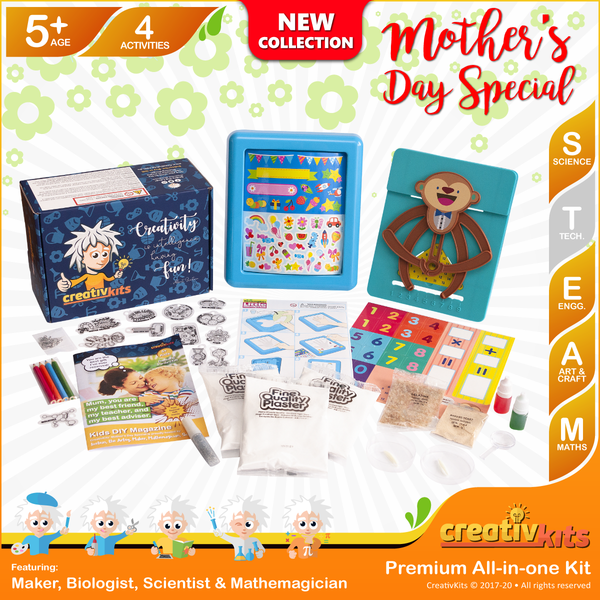February Plus Kit • Age 5 plus • DIY Gel Candles, Kaleidoscope, Magic Fridge Magnets and Gold Panning