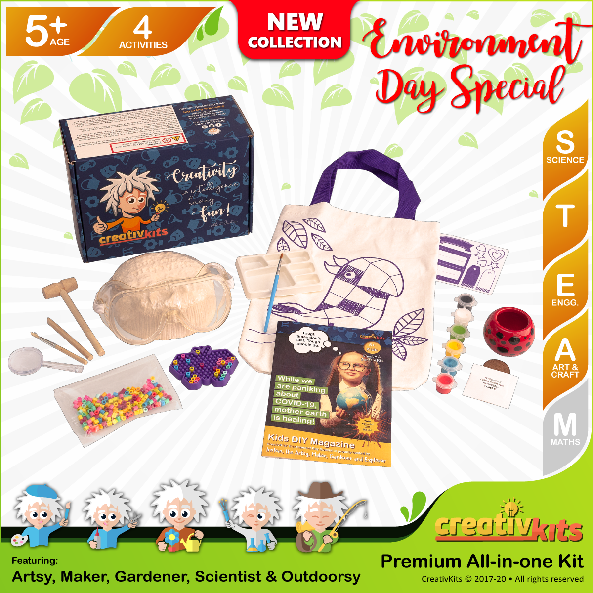May Plus Kit • Age 5 plus • Dig Own Geodes, Design Reusable Bag, Grow Grass Hair & MYO Perler Beads Charm