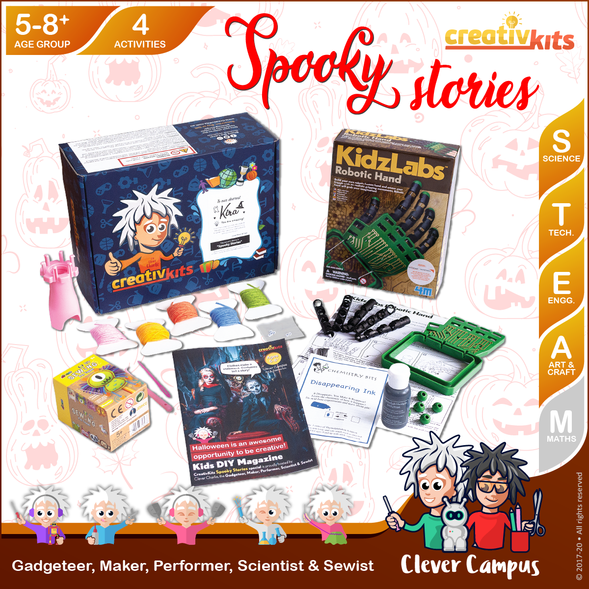 Oct Plus Kit • Age 5 plus • BYO Robotic Hand, Spool Knit Butterfly, Disappearing Ink & Monster Pen Topper