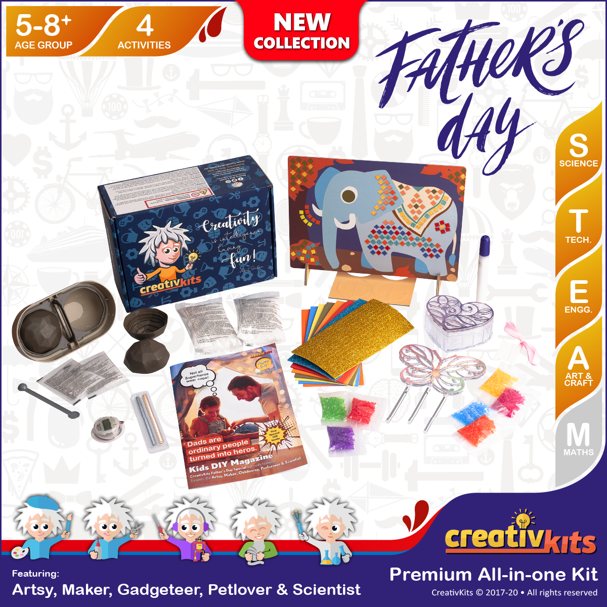 Aug Plus Kit • Age 5 plus • Grow Crystal Geodes, Design Mosaic Elephant, MYO Lemon Clock, Wind Chime & Keep Box
