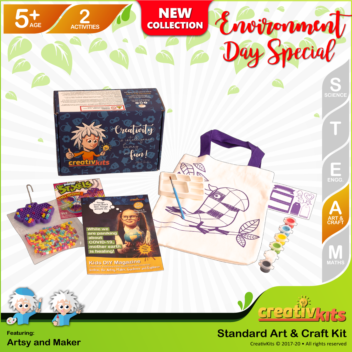 May Standard Art & Craft Kit • Age 5 plus • Design Reusable Bag & MYO Perler Beads Charm