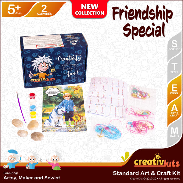 July Standard Art and Craft Kit • Age 5 plus • MYO Friendship Bracelet and Paint Friendship Rocks