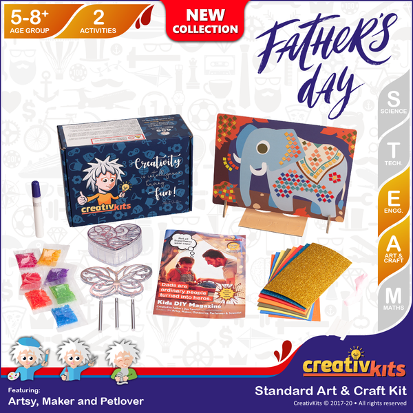 Aug Standard Art & Craft Kit • Age 5 plus • Design Own Mosaic Elephant and MYO Wind Chime & Keep Box