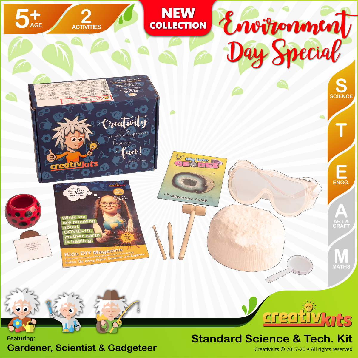May Standard Science & Tech. Kit • Age 5 plus • Dig Your Own Geodes and Grow Grass Hair