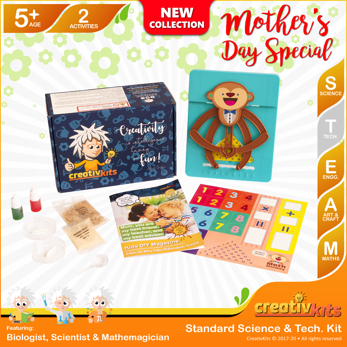 April Standard Science & Tech. Kit • Age 5 plus • Maths Monkey Fun & Be A Microbiologist