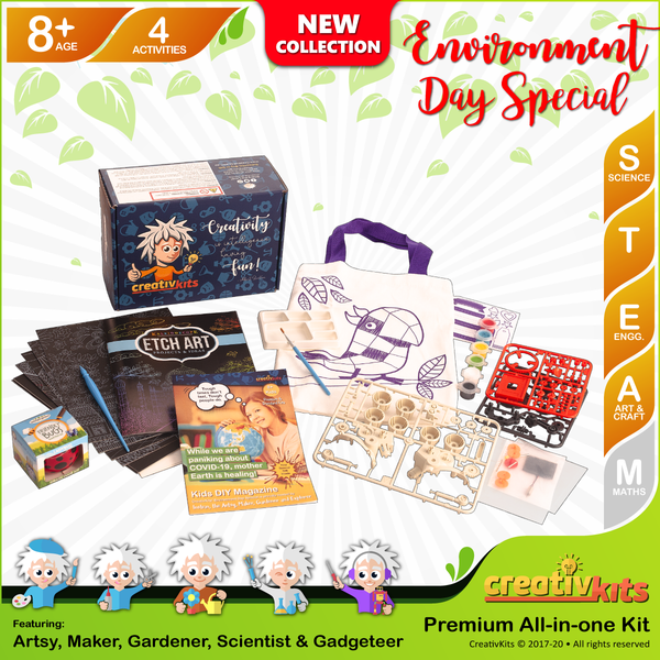 May Plus Kit • Age 8 plus • BYO Solar Rover, Design Reusable Bag, Grow Grass Hair & MYO Etch Art