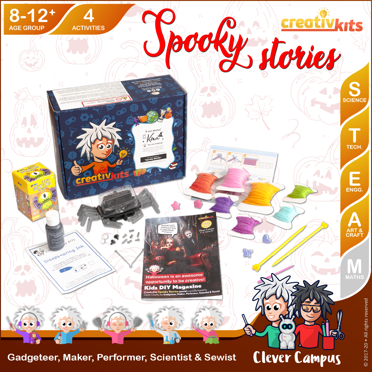 Oct Plus Kit • Age 8 plus • BYO Robotic Spider, MYO Knitting Art, Disappearing Ink & Monster Pen Topper