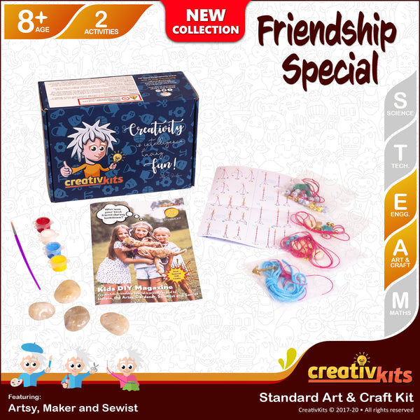 July Standard Art and Craft Kit • Age 8 plus • MYO Friendship Bracelet and Paint Friendship Rocks