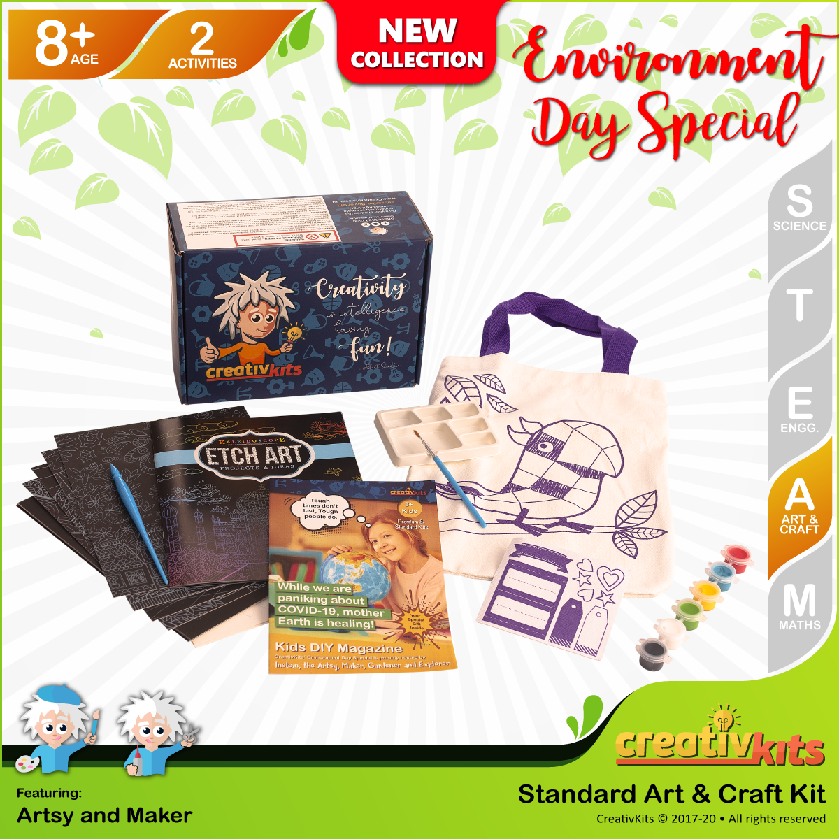 May Standard Art & Craft Kit • Age 8 plus • Design Reusable Bag and Make Your Own Etch Art