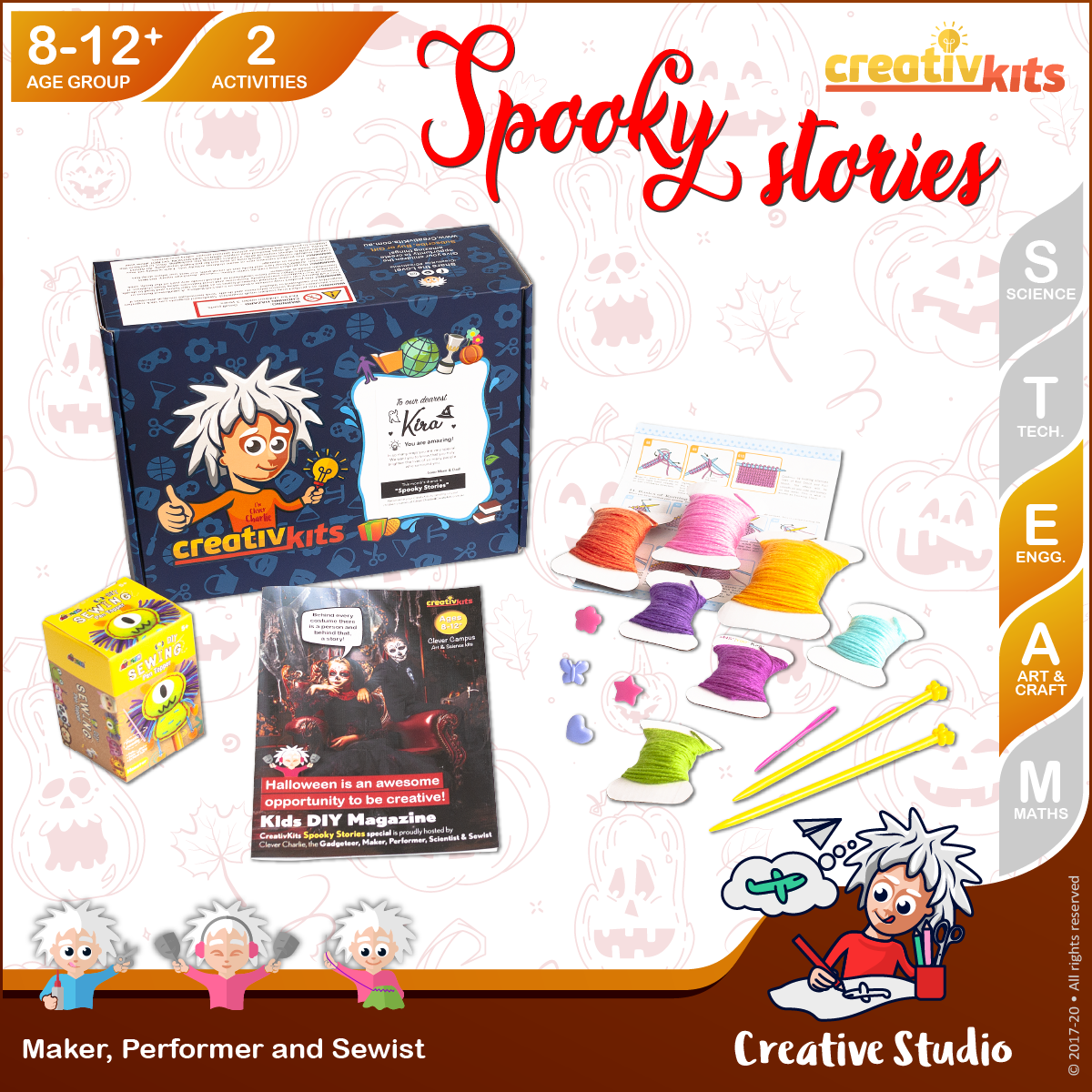 Oct Standard Art & Craft Kit • Age 8 plus • MYO Knitting Art and Sew Own Monster Pen Topper