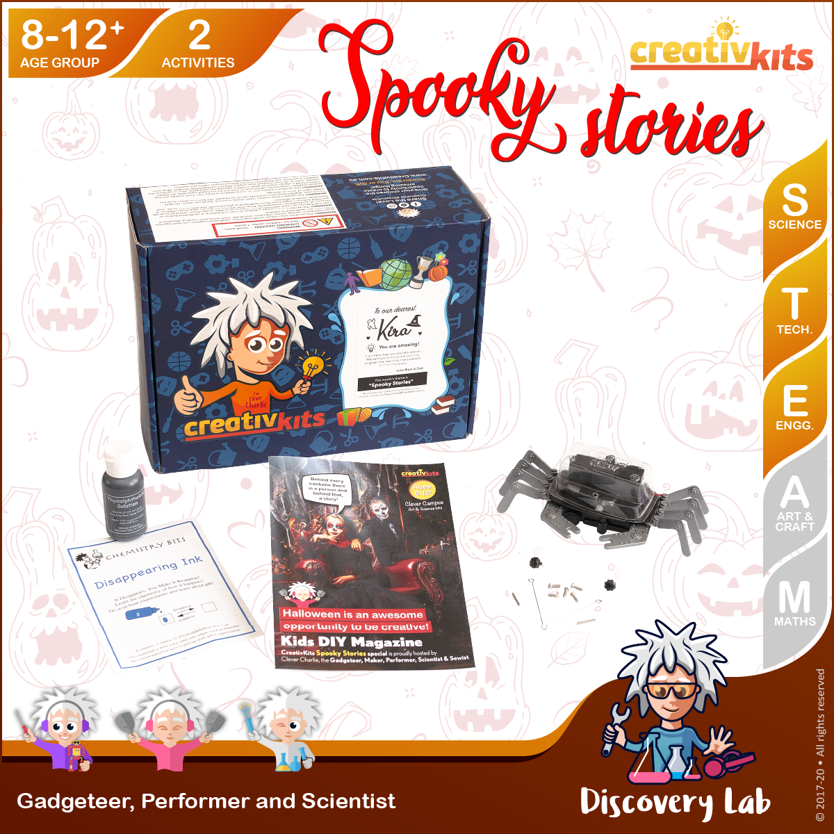 Oct Standard Science & Tech. Kit • Age 8 plus • BYO Robotic Spider and Disappearing Ink