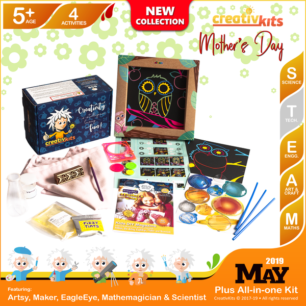 May Plus Kit • Age 5 plus • Solar System Mobile, Block Printed Cushions, MYO Lava Lamp and Spiro Art