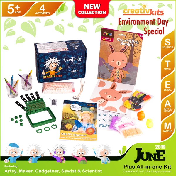 June Plus Kit • Age 5 plus • Robotic Hand, MYO Bouncy Balls, Cross Stitch Art and Handmade Candles