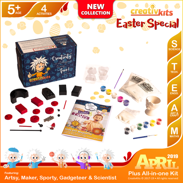 April Plus Kit • Age 5 plus • Magnet Science, Make own Snow, Make own tooth box and Paint Own Egg Cup
