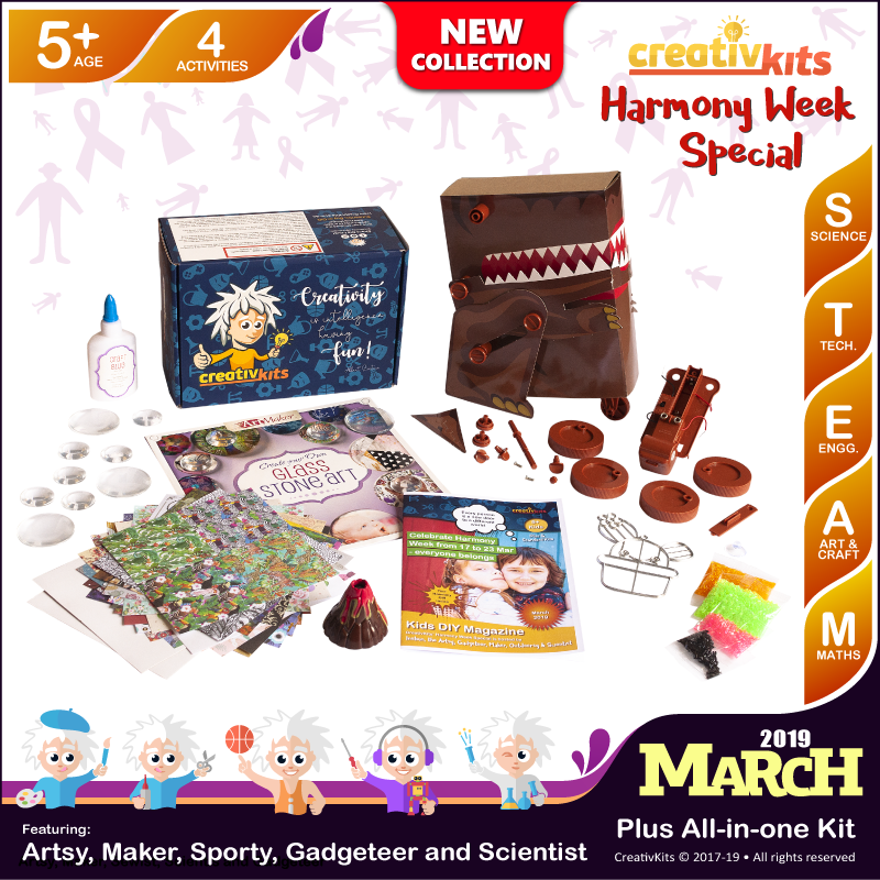 March Plus Kit • Age 5 plus • Build Own Dino, Exploding Volcano, MYO Glass Stone Art & Suncatcher