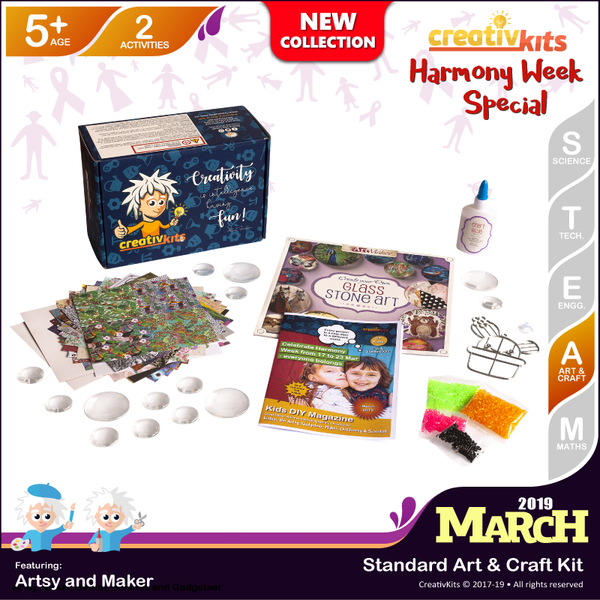 March Standard Art & Craft Kit • Age 5 plus • Make Your Own Glass Stone Art & Bake Your Own Suncatcher