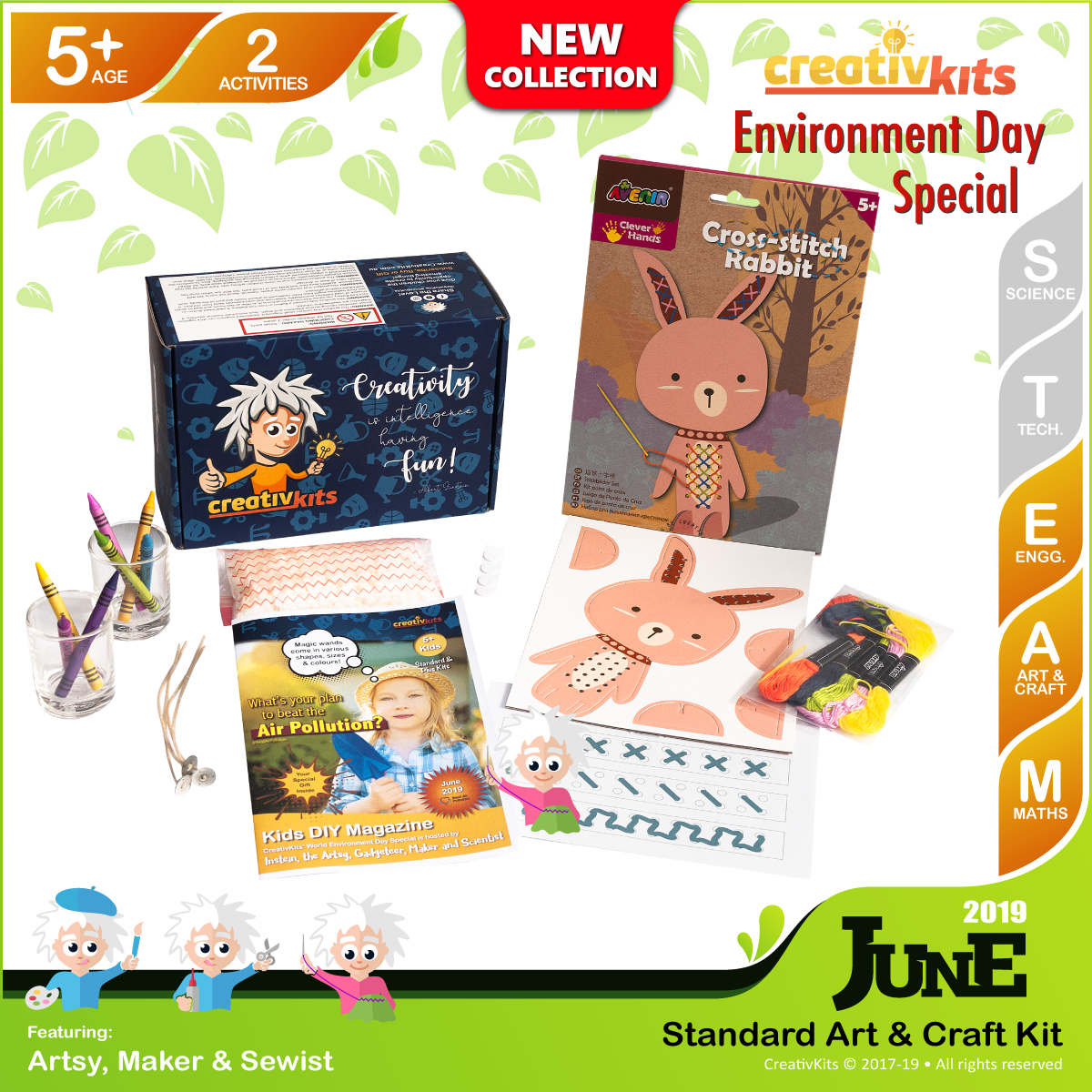 June Standard Art & Craft Kit • Age 5 plus • Handmade Wax Candles and Cross Stitch Animal Art