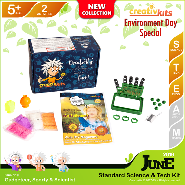 June Standard Science & Tech. Kit • Age 5 plus • Make Your Own Robotic Hand and Bouncy Balls