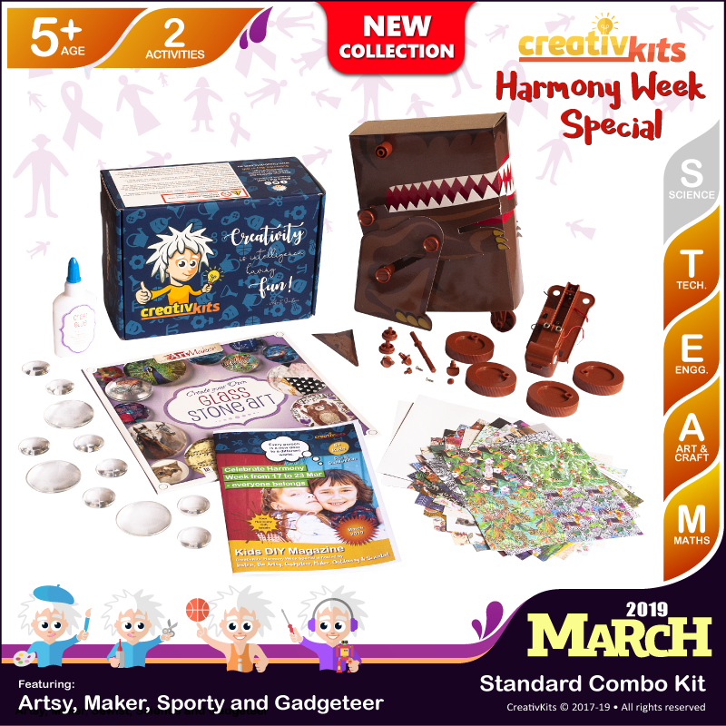 March Standard Combo Kit  • Age 5 plus • Build Your Own Dino and Make Your Own Glass Stone Art