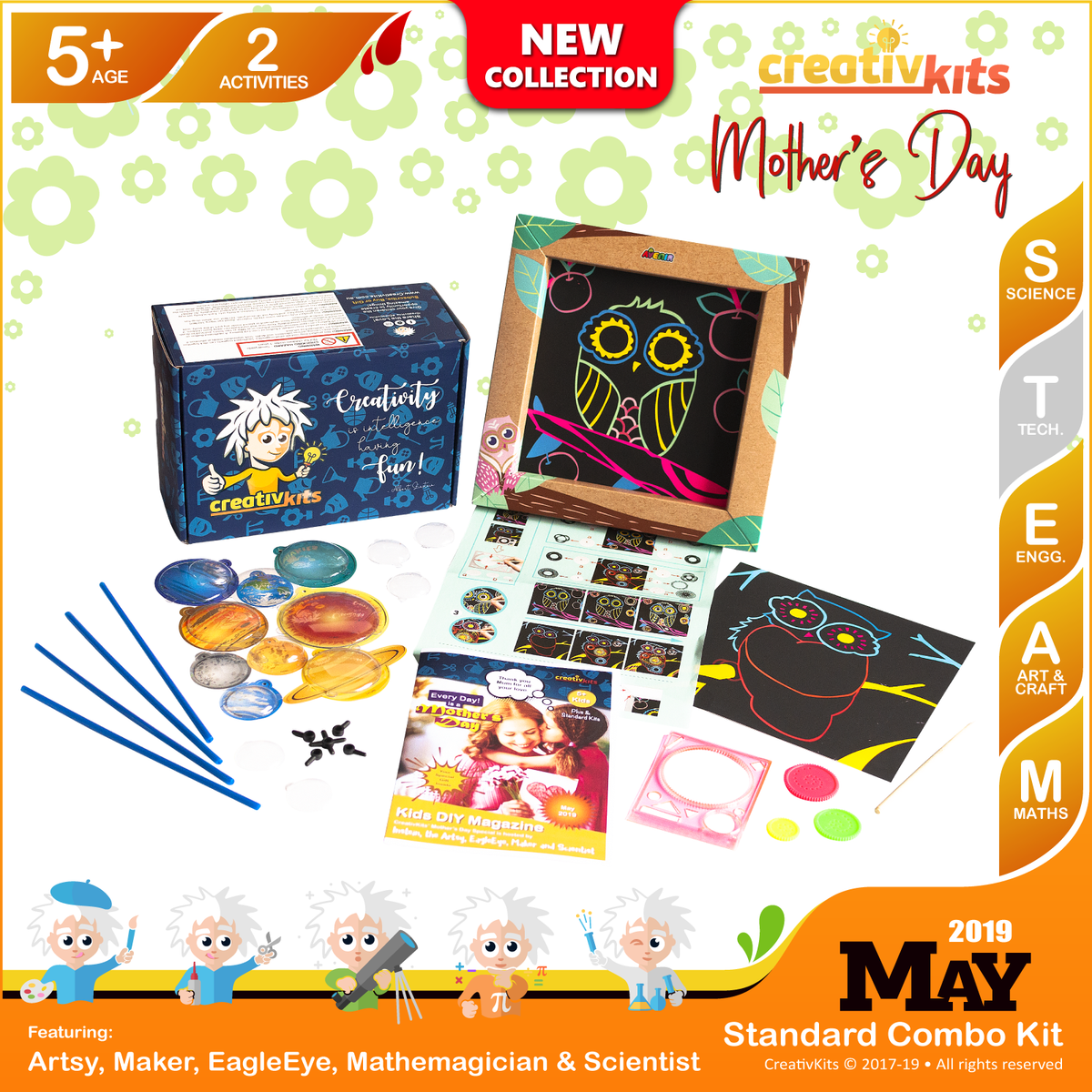 May Standard Combo Kit • Age 5 plus • Make Your Own Solar System Mobile and Spiro Art Painting
