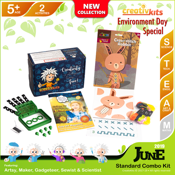 June Standard Combo Kit • Age 5 plus • Make Your Own Robotic Hand and Cross Stitch Animal Art