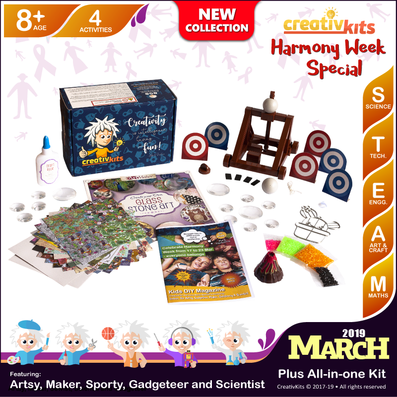 March Plus Kit • Age 8 plus • Build Own Catapult, Exploding Volcano, Glass Stone Art & Suncatcher