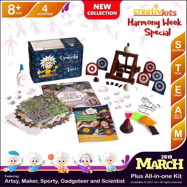 March Plus Kit • Age 8 plus • Build Own Catapult, Exploding Volcano, MYO Glass Stone Art & Suncatcher