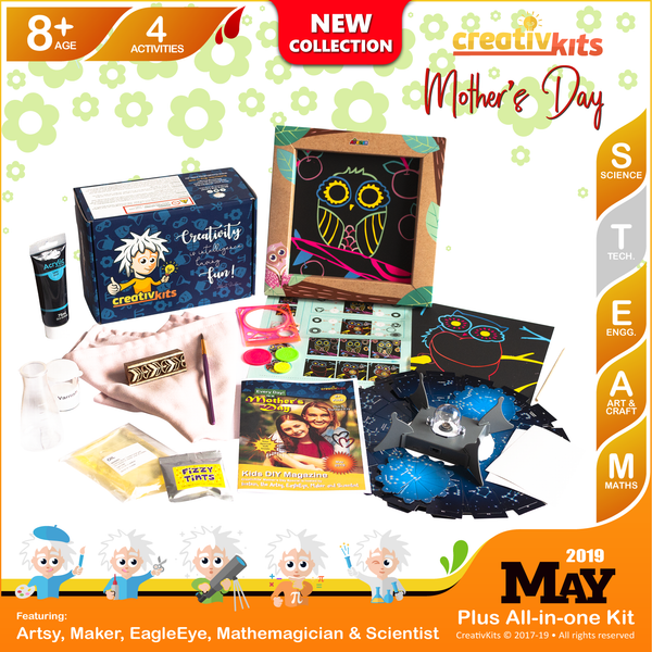 May Plus Kit • Age 8 plus • Night Sky Projector, MYO Lava Lamp, Block Printed Cushion Covers and Spiro Art