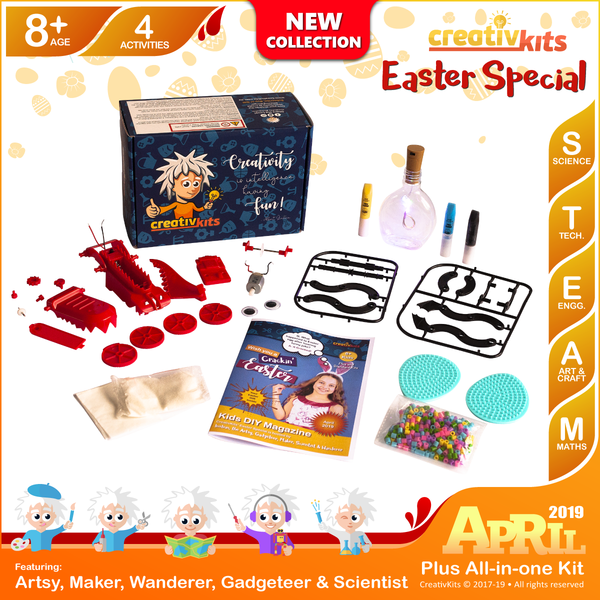 April Plus Kit • Age 8 plus • Build Own Dragon, Make own Snow, Make own Light up Bottle and Melty Beads Easter Egg