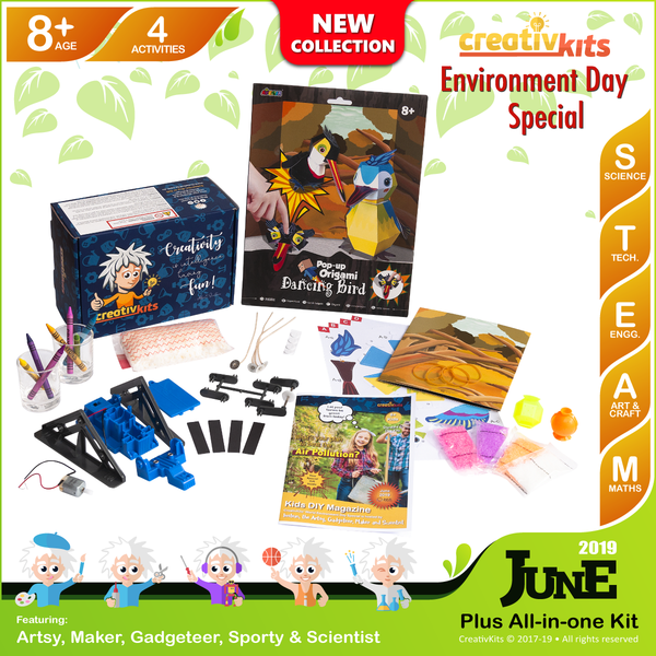 June Plus Kit • Age 8 plus • Fridge Robot, MYO Bouncy Balls, Handmade Candles & Origami dancing bird