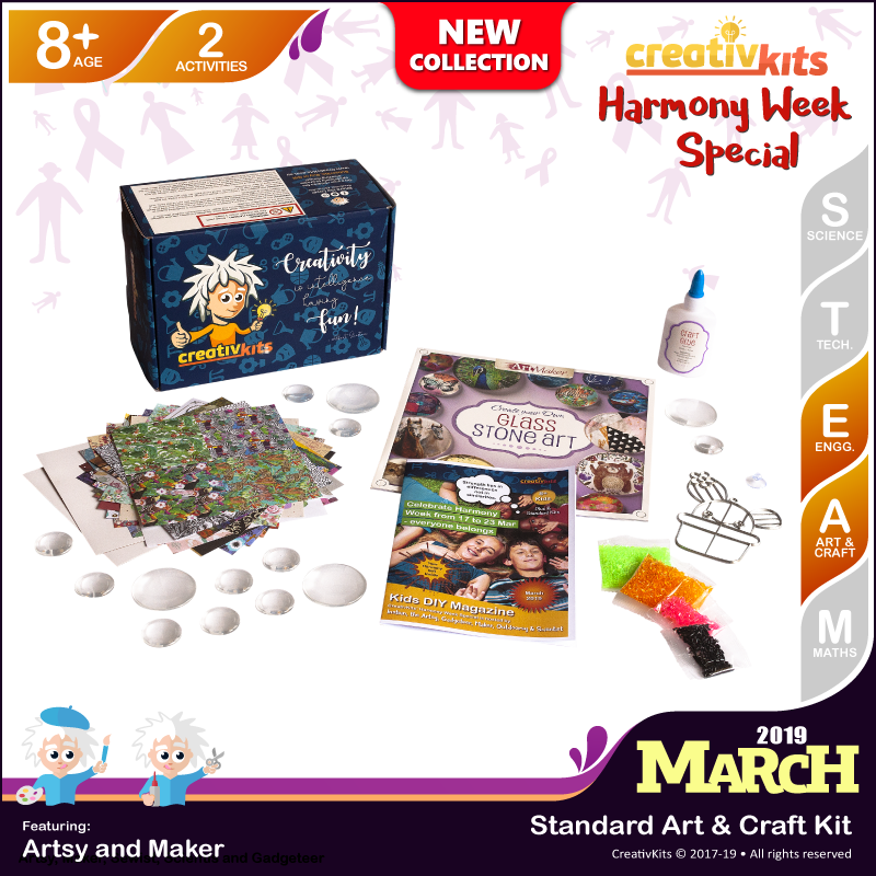 March Standard Art & Craft Kit • Age 8 plus • Make Your Glass Stone Art & Bake Your Own Suncatcher