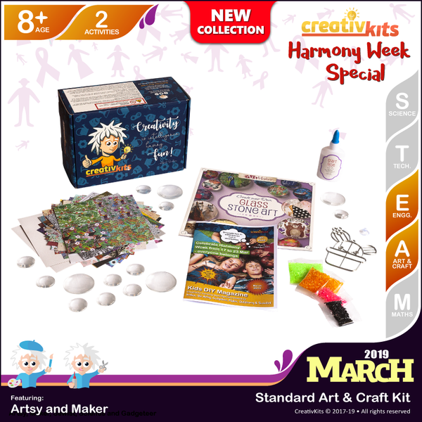 March Standard Art & Craft Kit • Age 8 plus • Make Your Own Glass Stone Art & Bake Your Own Sun catcher