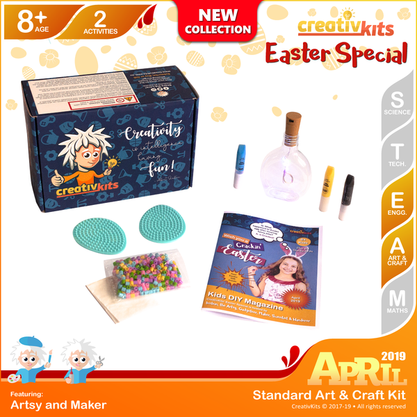 April Standard Art & Craft Kit • Age 8 plus • Make own Light up Bottle and Melty Beads Easter Egg