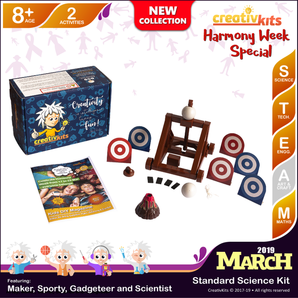 March Standard Science & Tech.Plus Kit • Age 8 plus • Build Your Own Catapult and Explode Your Own Volcano