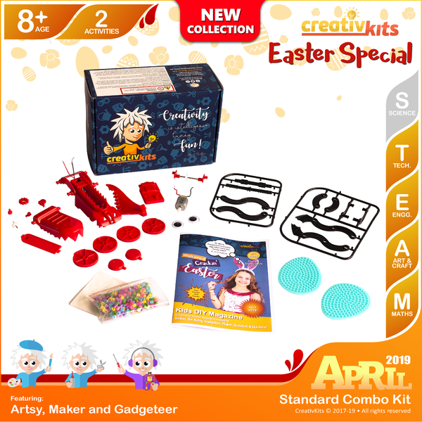 April Standard Combo Kit • Age 8 plus • Build Own Dragon and Melty Beads Easter Egg