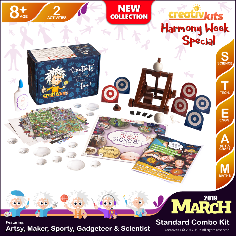 March Standard Combo Kit • Age 8 plus • Build Your Own Catapult and Make Your Own Glass Stone Art