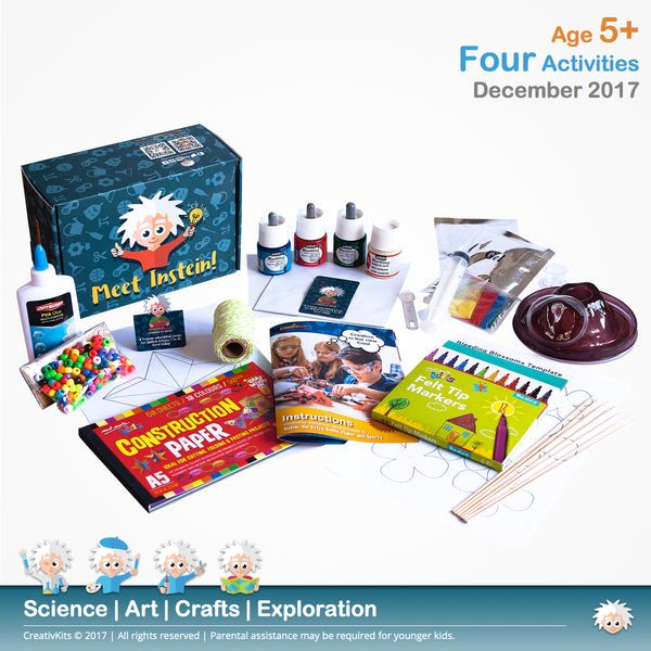 Christmas Decorations, Marbling Cards, Bleeding Flowers & Volcano | December Plus Kit | Age 5+