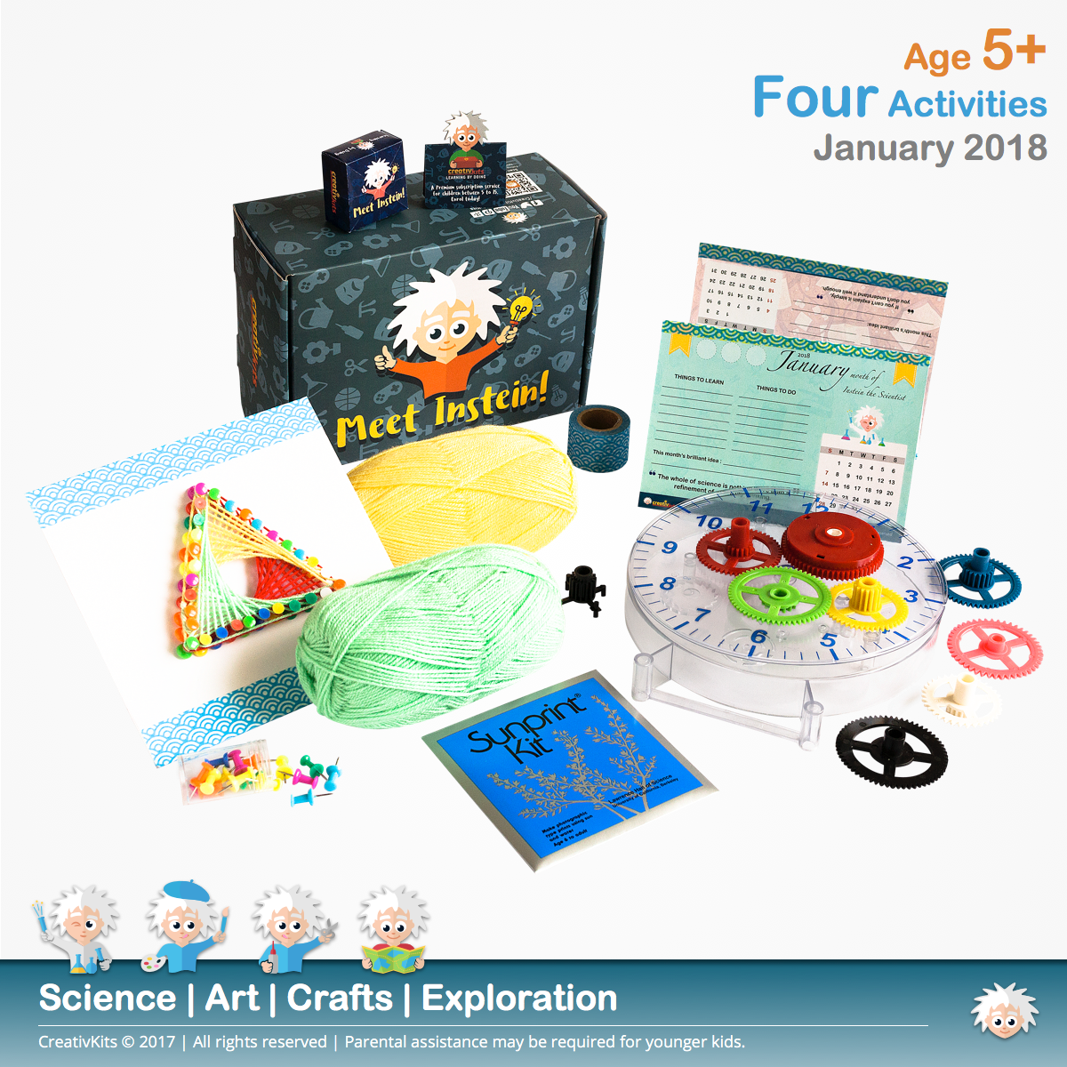 DIY Planner, Mechanical Clock, String Art & Sun Photography Art | January Plus Kit | Age 5+