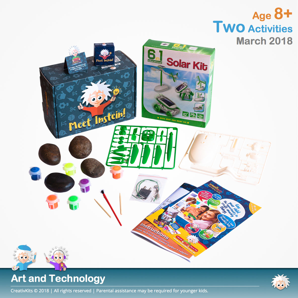 Garden Neon Rocks & Solar-powered Gadgets | March Standard Art and Science Combo Kit | Age 8+