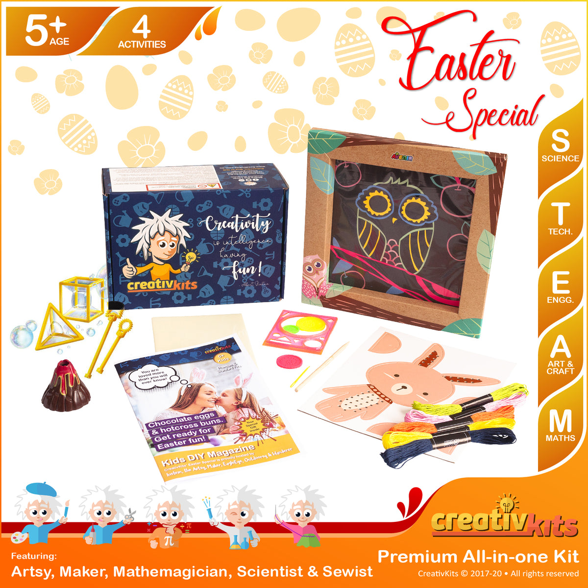 March Plus Kit • Age 5 plus • DIY Bubble Science, Cross Stitch Rabbit, Explode Your Volcano and Spiro Scratch Art
