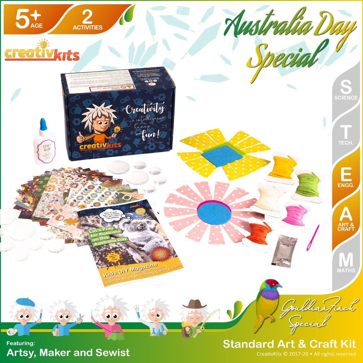 Makers Standard Art & Craft Kit • Age 5 plus • Weave Your Own Basket and MYO Glass Stone Art