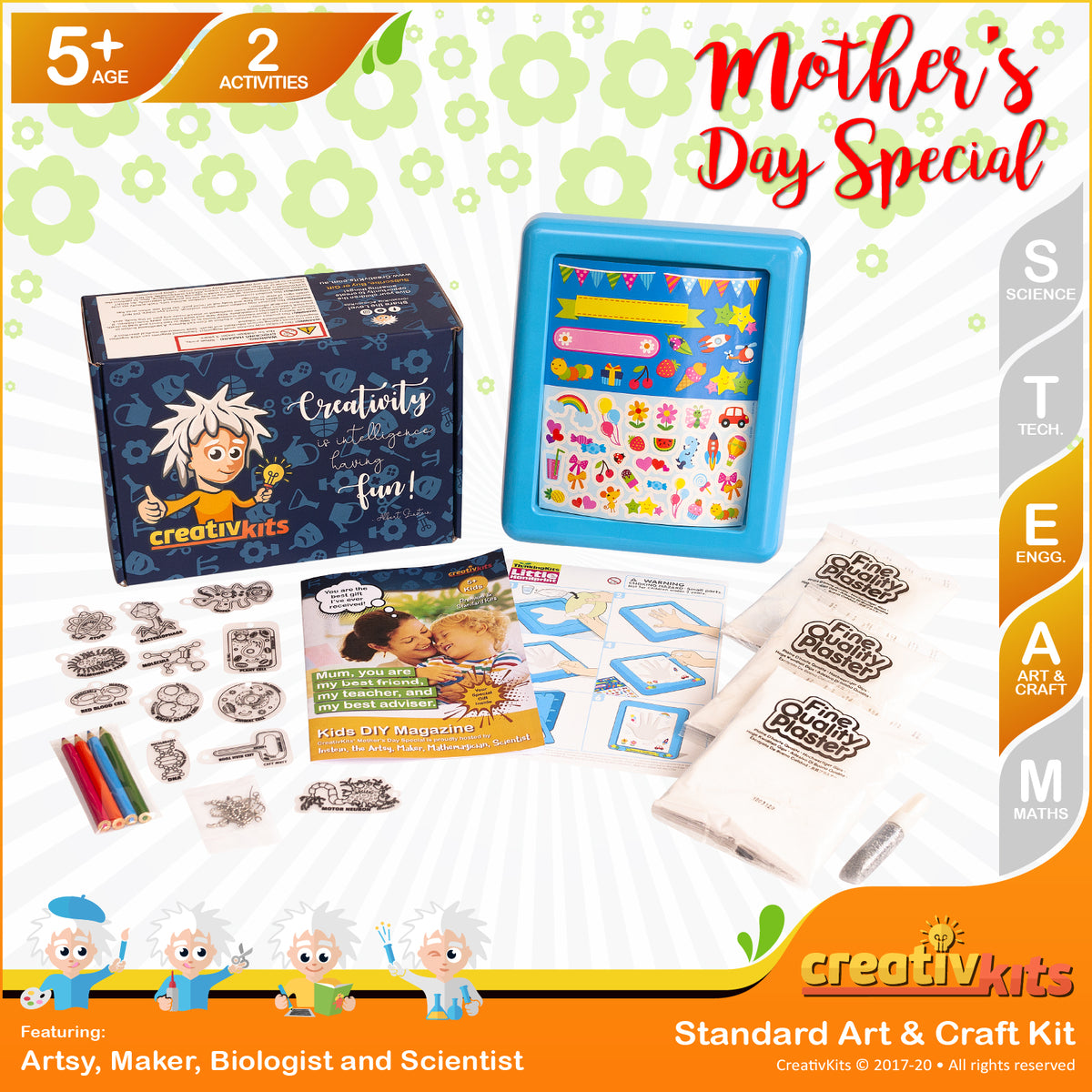 April Standard Art and Craft Kit • Age 5 plus • Make Your Own Hand Print and Micro Key Chains