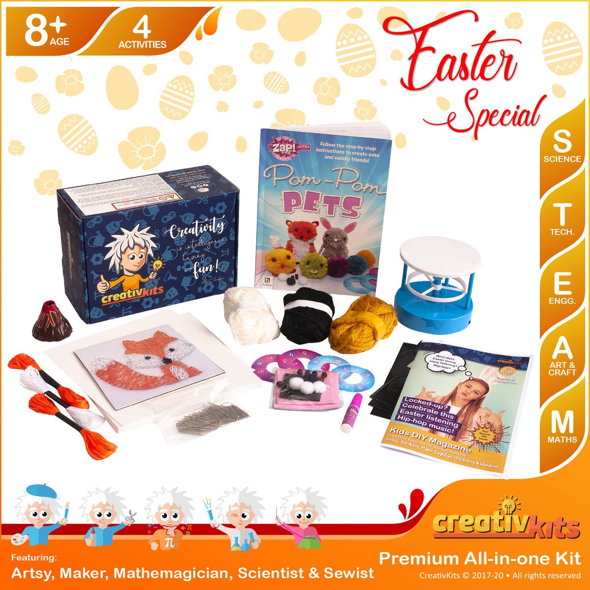 March Plus Kit • Age 8 plus • DIY Light Kaleidoscope, String Art, Explode Volcano & Pom Pom Pets
