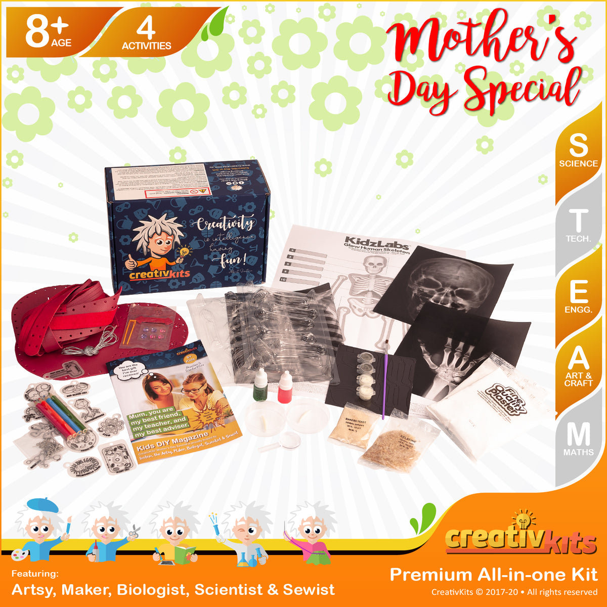 April Plus Kit • Age 8 plus • DIY human Skeleton, MYO Leather Bag, Micro Key Chains & MYO Microbiologist